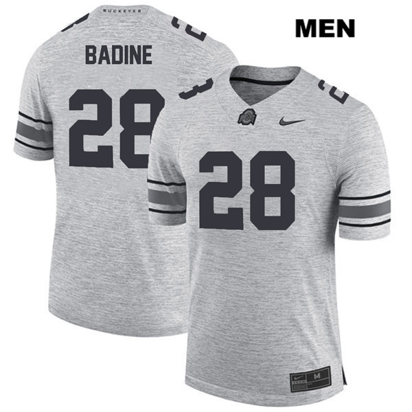 Alex Badine Mens Stitched Gray Nike Ohio State Buckeyes Authentic no. 28 College Football Jersey - Alex Badine Jersey