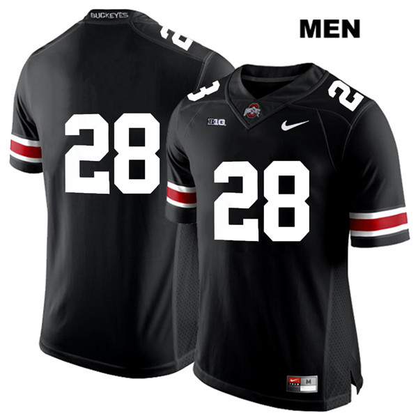 Alex Badine Mens Stitched Black Ohio State Buckeyes White Font Authentic Nike no. 28 College Football Jersey - Without Name - Alex Badine Jersey