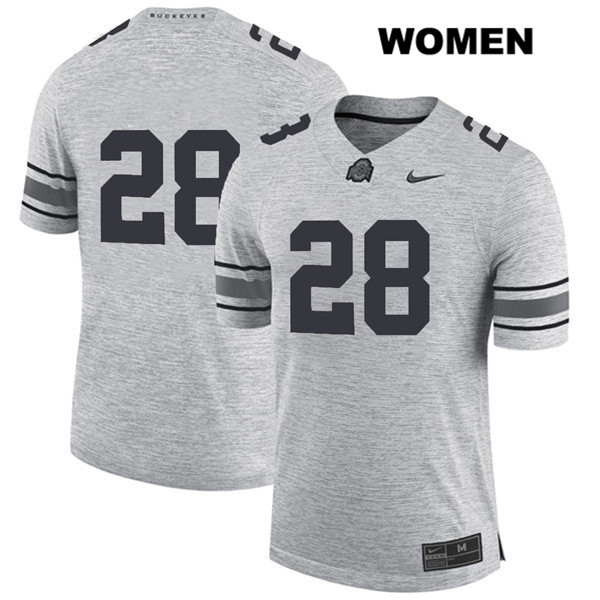 Alex Badine Nike Womens Stitched Gray Ohio State Buckeyes Authentic no. 28 College Football Jersey - Without Name - Alex Badine Jersey