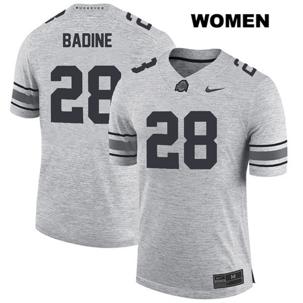Alex Badine Womens Gray Ohio State Buckeyes Authentic Nike Stitched no. 28 College Football Jersey - Alex Badine Jersey
