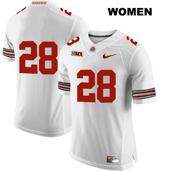 Alex Badine Womens Stitched White Nike Ohio State Buckeyes Authentic no. 28 College Football Jersey - Without Name - Alex Badine Jersey