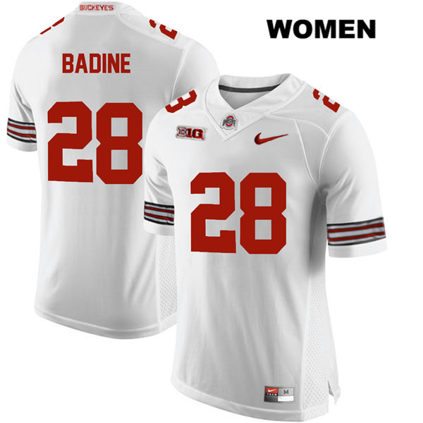 Alex Badine Stitched Womens Nike White Ohio State Buckeyes Authentic no. 28 College Football Jersey - Alex Badine Jersey