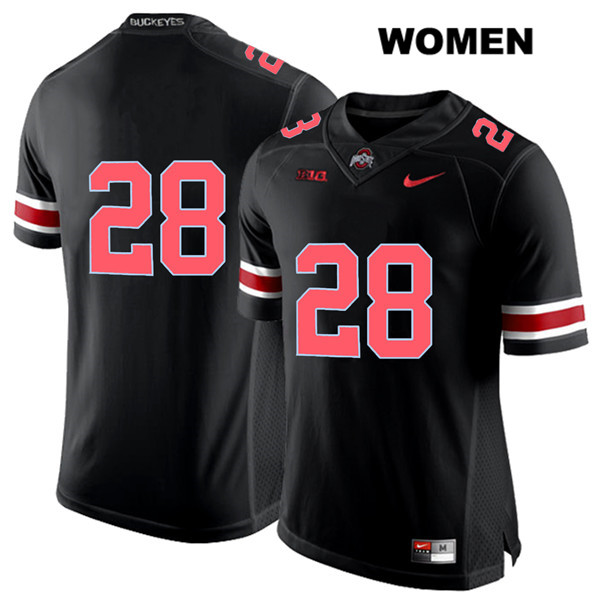 Alex Badine Stitched Womens Black Red Font Ohio State Buckeyes Authentic Nike no. 28 College Football Jersey - Without Name - Alex Badine Jersey