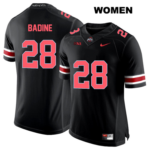 Alex Badine Nike Womens Stitched Black Ohio State Buckeyes Red Font Authentic no. 28 College Football Jersey - Alex Badine Jersey