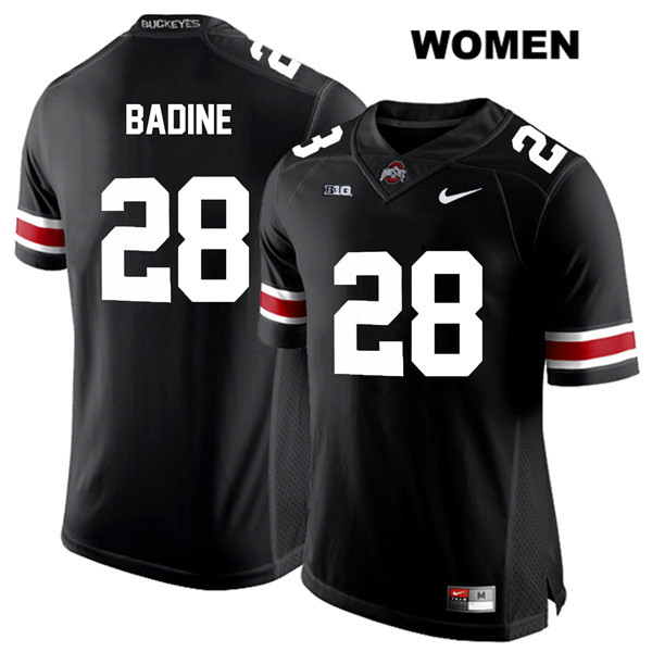 Alex Badine Womens Stitched Black White Font Ohio State Buckeyes Nike Authentic no. 28 College Football Jersey - Alex Badine Jersey