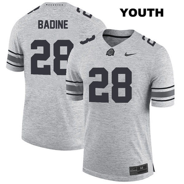 Alex Badine Stitched Youth Gray Nike Ohio State Buckeyes Authentic no. 28 College Football Jersey - Alex Badine Jersey