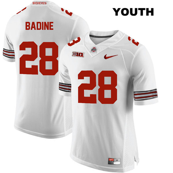 Alex Badine Youth White Ohio State Buckeyes Stitched Authentic Nike no. 28 College Football Jersey - Alex Badine Jersey