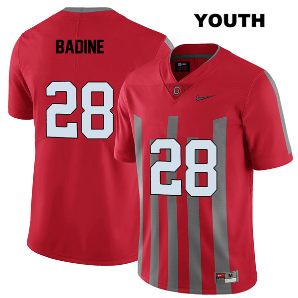 Alex Badine Youth Elite Red Stitched Nike Ohio State Buckeyes Authentic no. 28 College Football Jersey - Alex Badine Jersey