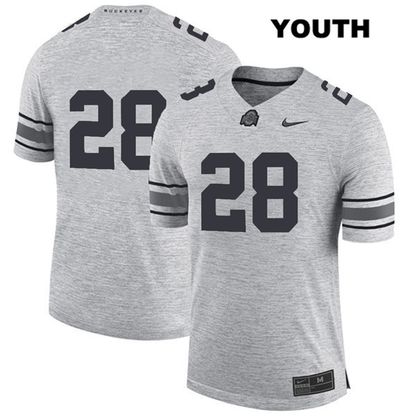 Amari McMahon Stitched Youth Gray Ohio State Buckeyes Authentic Nike no. 28 College Football Jersey - Without Name - Amari McMahon Jersey