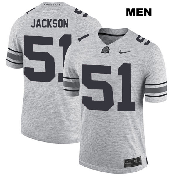 Antwuan Jackson Mens Stitched Gray Ohio State Buckeyes Nike Authentic no. 51 College Football Jersey - Antwuan Jackson Jersey
