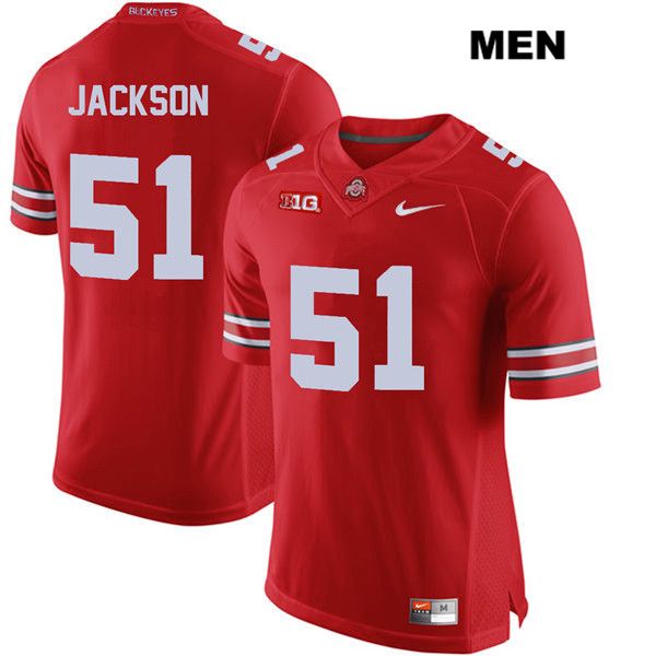 Antwuan Jackson Mens Red Stitched Ohio State Buckeyes Authentic Nike no. 51 College Football Jersey - Antwuan Jackson Jersey