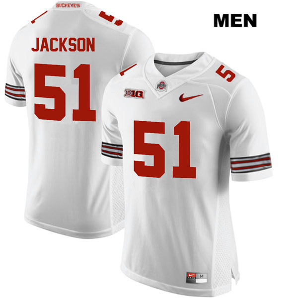 Antwuan Jackson Stitched Mens White Ohio State Buckeyes Nike Authentic no. 51 College Football Jersey - Antwuan Jackson Jersey