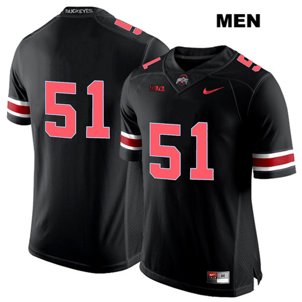 Antwuan Jackson Stitched Mens Black Ohio State Buckeyes Red Font Authentic Nike no. 51 College Football Jersey - Without Name - Antwuan Jackson Jersey