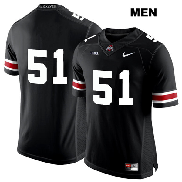 Antwuan Jackson Stitched Mens Nike Black Ohio State Buckeyes White Font Authentic no. 51 College Football Jersey - Without Name - Antwuan Jackson Jersey