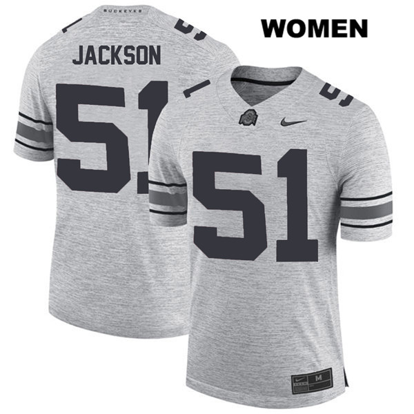 Antwuan Jackson Stitched Womens Nike Gray Ohio State Buckeyes Authentic no. 51 College Football Jersey - Antwuan Jackson Jersey