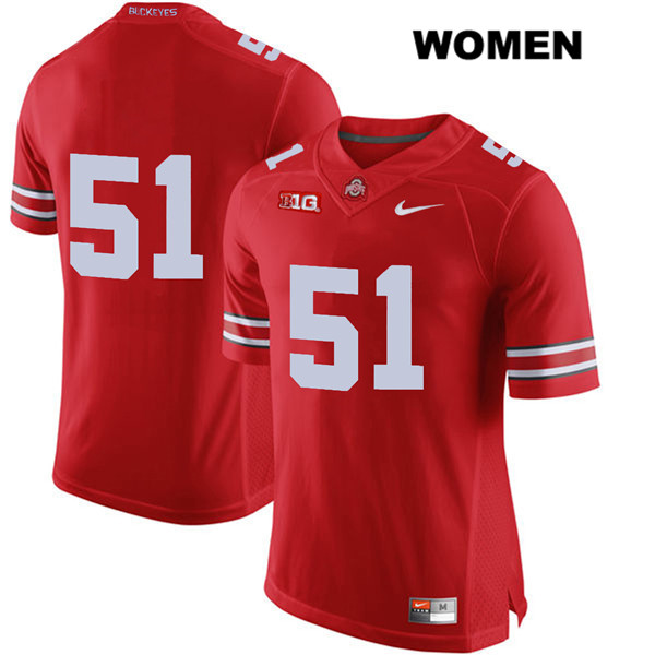 Antwuan Jackson Nike Womens Red Ohio State Buckeyes Stitched Authentic no. 51 College Football Jersey - Without Name - Antwuan Jackson Jersey