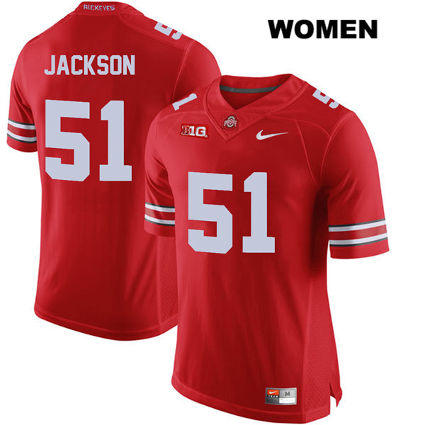 Antwuan Jackson Womens Stitched Red Ohio State Buckeyes Nike Authentic no. 51 College Football Jersey - Antwuan Jackson Jersey