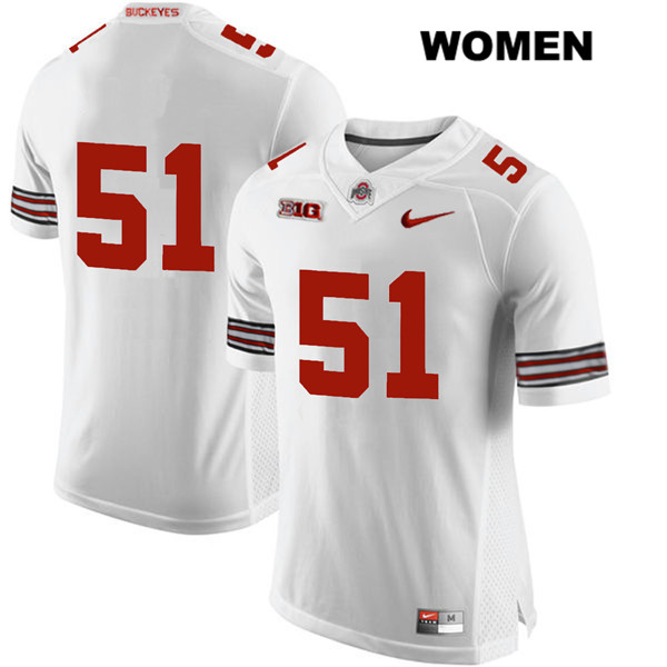 Antwuan Jackson Womens White Stitched Nike Ohio State Buckeyes Authentic no. 51 College Football Jersey - Without Name - Antwuan Jackson Jersey
