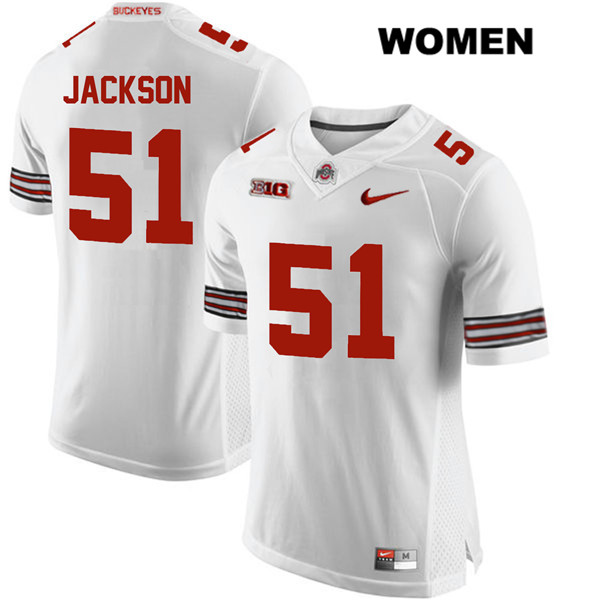 Antwuan Jackson Womens White Stitched Ohio State Buckeyes Authentic Nike no. 51 College Football Jersey - Antwuan Jackson Jersey
