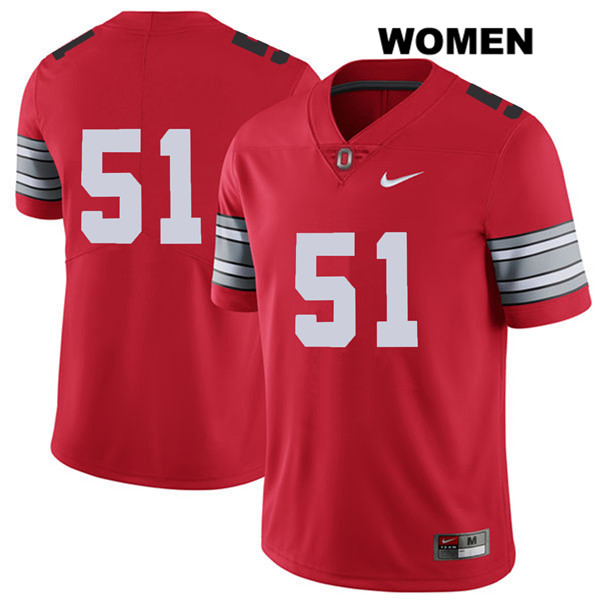 Antwuan Jackson Nike Womens Red 2018 Spring Game Ohio State Buckeyes Authentic Stitched no. 51 College Football Jersey - Without Name - Antwuan Jackson Jersey