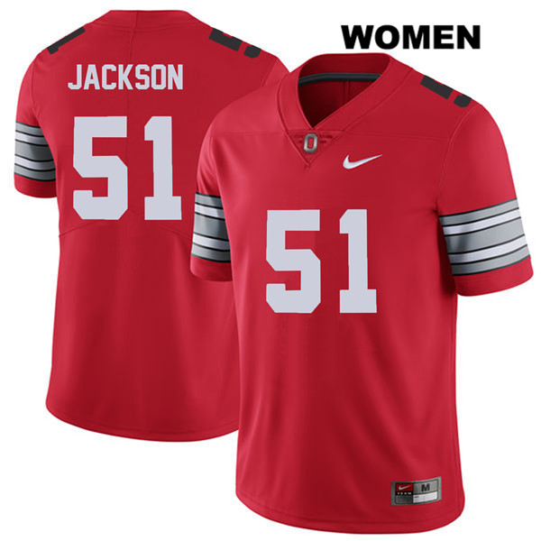 Antwuan Jackson Nike Womens Red 2018 Spring Game Ohio State Buckeyes Stitched Authentic no. 51 College Football Jersey - Antwuan Jackson Jersey