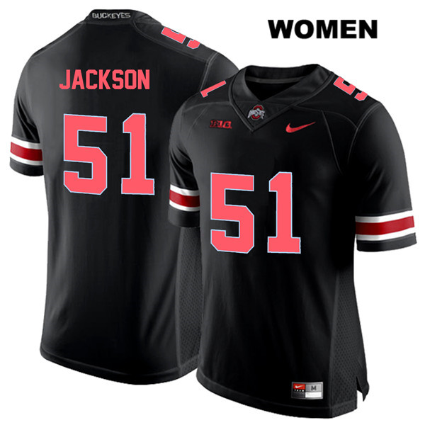 Antwuan Jackson Womens Stitched Black Nike Ohio State Buckeyes Authentic Red Font no. 51 College Football Jersey - Antwuan Jackson Jersey