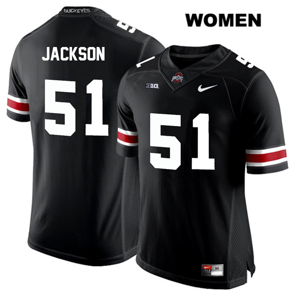 Antwuan Jackson White Font Womens Black Nike Ohio State Buckeyes Stitched Authentic no. 51 College Football Jersey - Antwuan Jackson Jersey