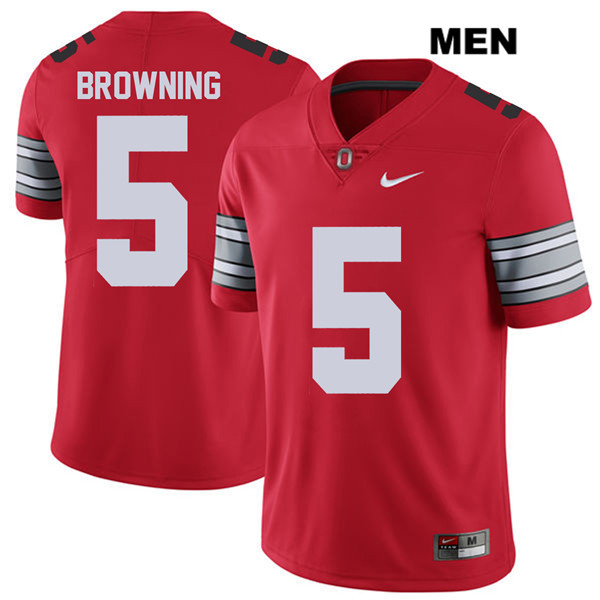 Stitched Baron Browning Mens 2018 Spring Game Red Ohio State Buckeyes Nike Authentic no. 5 College Football Jersey