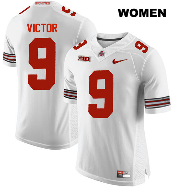 Binjimen Victor Womens White Stitched Ohio State Buckeyes Authentic Nike no. 9 College Football Jersey - Binjimen Victor Jersey
