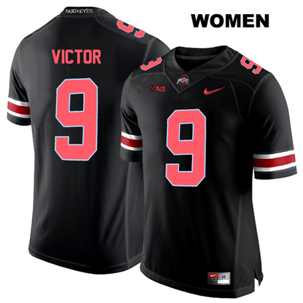 Binjimen Victor Stitched Womens Red Font Black Ohio State Buckeyes Nike Authentic no. 9 College Football Jersey - Binjimen Victor Jersey