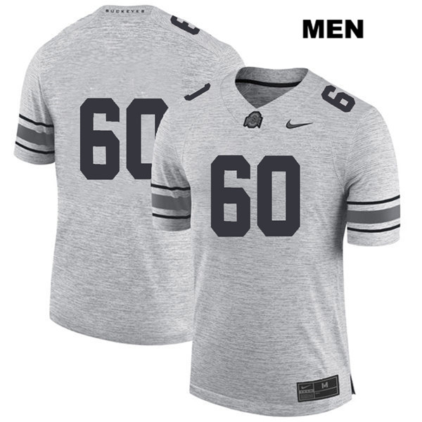 Blake Pfenning Mens Gray Nike Ohio State Buckeyes Stitched Authentic no. 60 College Football Jersey - Without Name - Blake Pfenning Jersey