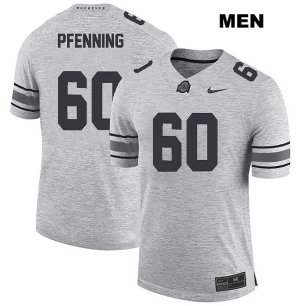 Nike Blake Pfenning Mens Stitched Gray Ohio State Buckeyes Authentic no. 60 College Football Jersey - Blake Pfenning Jersey