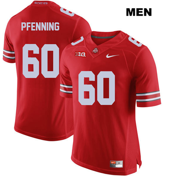 Blake Pfenning Mens Stitched Red Ohio State Buckeyes Authentic Nike no. 60 College Football Jersey - Blake Pfenning Jersey