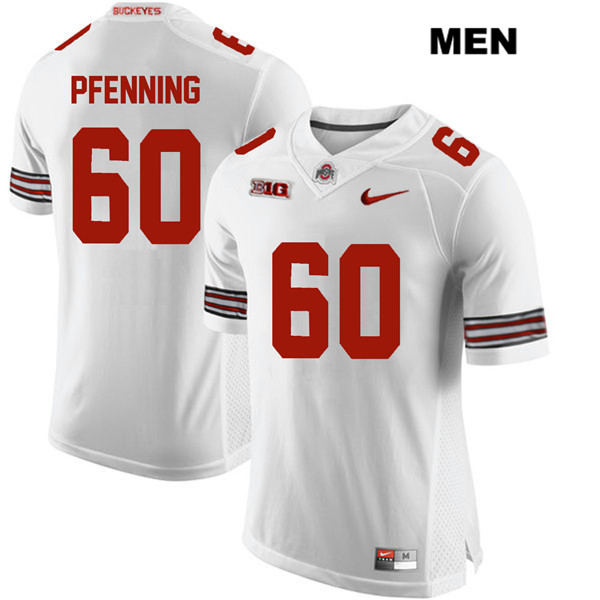 Blake Pfenning Mens Nike White Ohio State Buckeyes Authentic Stitched no. 60 College Football Jersey - Blake Pfenning Jersey