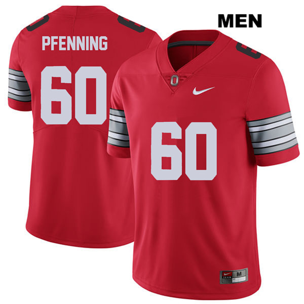 Nike Blake Pfenning Stitched Mens Red Ohio State Buckeyes Authentic 2018 Spring Game no. 60 College Football Jersey - Blake Pfenning Jersey