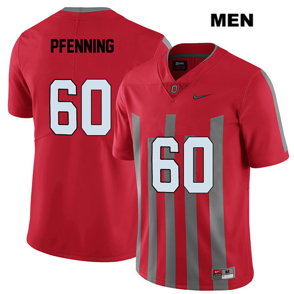 Elite Blake Pfenning Mens Nike Red Stitched Ohio State Buckeyes Authentic no. 60 College Football Jersey - Blake Pfenning Jersey