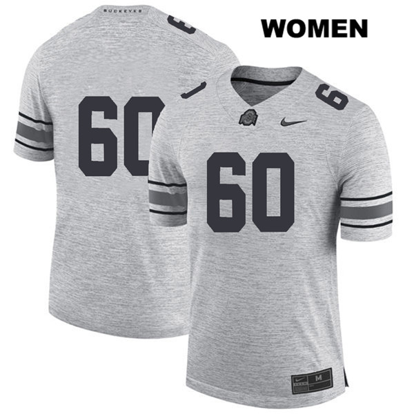 Blake Pfenning Womens Nike Gray Ohio State Buckeyes Stitched Authentic no. 60 College Football Jersey - Without Name - Blake Pfenning Jersey