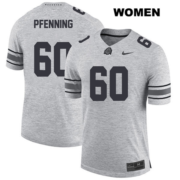 Blake Pfenning Stitched Womens Gray Nike Ohio State Buckeyes Authentic no. 60 College Football Jersey - Blake Pfenning Jersey