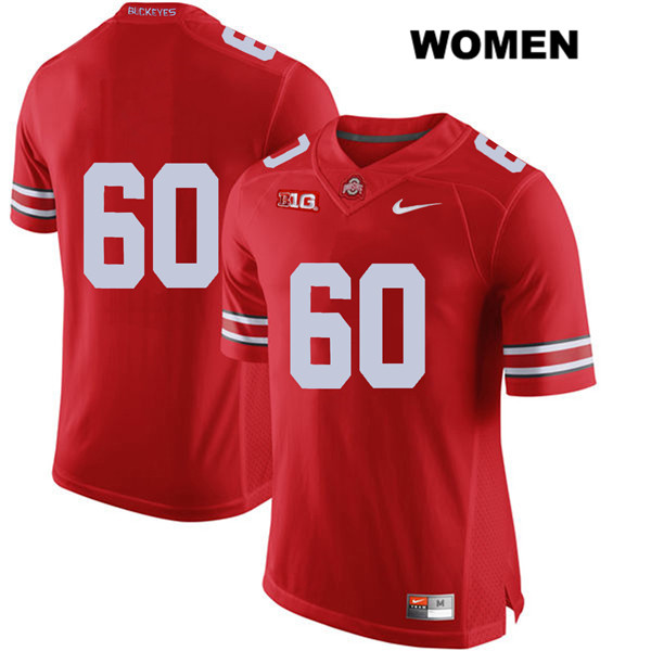 Blake Pfenning Stitched Womens Red Ohio State Buckeyes Authentic Nike no. 60 College Football Jersey - Without Name - Blake Pfenning Jersey