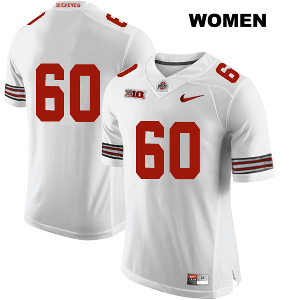 Blake Pfenning Womens Nike White Ohio State Buckeyes Stitched Authentic no. 60 College Football Jersey - Without Name - Blake Pfenning Jersey