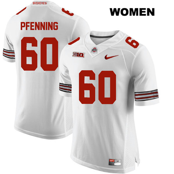 Blake Pfenning Womens Stitched White Ohio State Buckeyes Nike Authentic no. 60 College Football Jersey - Blake Pfenning Jersey