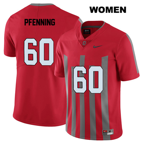 Blake Pfenning Stitched Womens Red Ohio State Buckeyes Elite Authentic Nike no. 60 College Football Jersey - Blake Pfenning Jersey