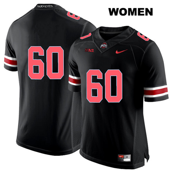 Blake Pfenning Nike Womens Black Ohio State Buckeyes Authentic Red Font Stitched no. 60 College Football Jersey - Without Name - Blake Pfenning Jersey