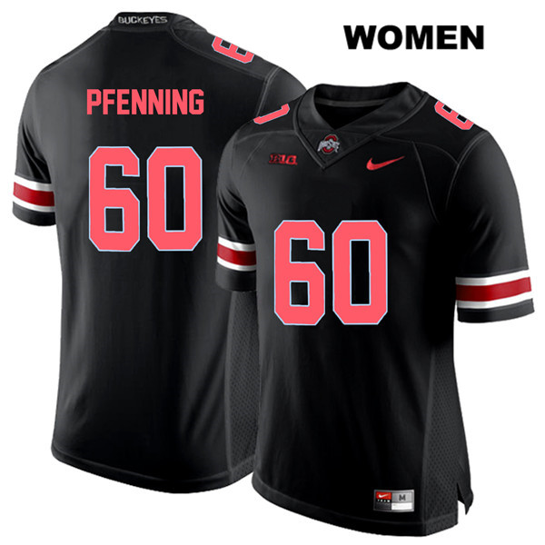 Blake Pfenning Womens Stitched Black Red Font Ohio State Buckeyes Nike Authentic no. 60 College Football Jersey - Blake Pfenning Jersey