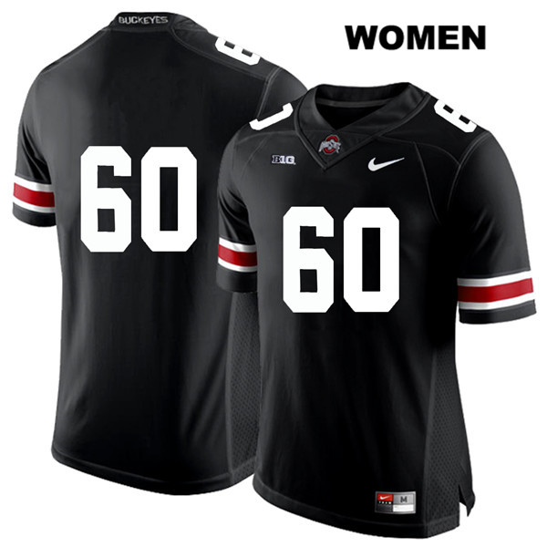 Blake Pfenning Stitched Womens Black Nike Ohio State Buckeyes Authentic White Font no. 60 College Football Jersey - Without Name - Blake Pfenning Jersey