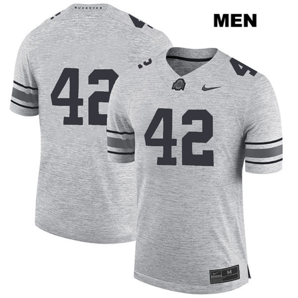 Bradley Robinson Mens Nike Gray Stitched Ohio State Buckeyes Authentic no. 42 College Football Jersey - Without Name - Bradley Robinson Jersey