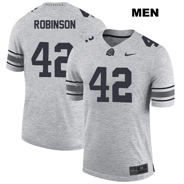 Bradley Robinson Stitched Mens Gray Ohio State Buckeyes Nike Authentic no. 42 College Football Jersey - Bradley Robinson Jersey