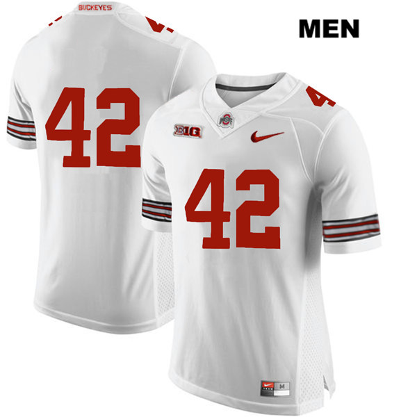 Bradley Robinson Stitched Mens White Ohio State Buckeyes Authentic Nike no. 42 College Football Jersey - Without Name - Bradley Robinson Jersey