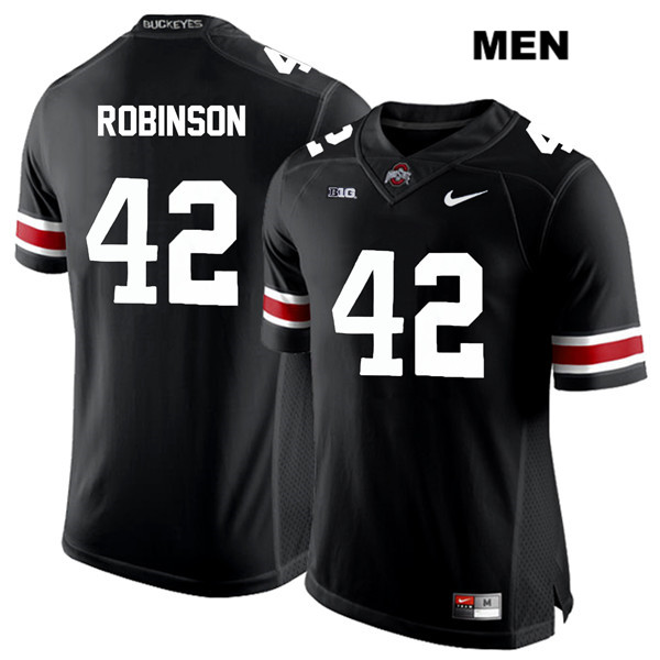 Bradley Robinson White Font Mens Black Stitched Nike Ohio State Buckeyes Authentic no. 42 College Football Jersey - Bradley Robinson Jersey
