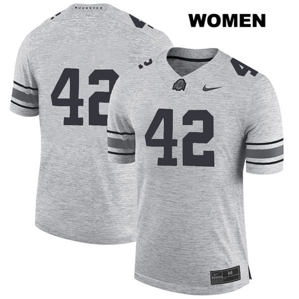 Bradley Robinson Womens Gray Ohio State Buckeyes Authentic Nike Stitched no. 42 College Football Jersey - Without Name - Bradley Robinson Jersey